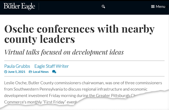 Osche conferences with nearby county leaders